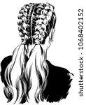 stylish beautiful two braids... | Shutterstock .eps vector #1068402152