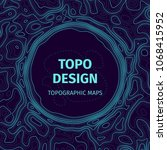 topographic map background with ... | Shutterstock .eps vector #1068415952
