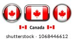 canada flag buttons  3d shiny... | Shutterstock .eps vector #1068446612