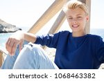 portrait of smiling nordic... | Shutterstock . vector #1068463382