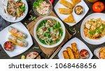 assorted asian dinner ... | Shutterstock . vector #1068468656