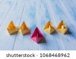leadership concept  red leader...   Shutterstock . vector #1068468962