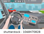 the driver did not manage to... | Shutterstock .eps vector #1068470828
