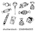 candy engraving vector... | Shutterstock .eps vector #1068486005