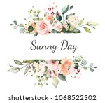 card. watercolor invitation... | Shutterstock . vector #1068522302