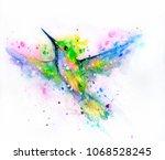 watercolor hummingbird with... | Shutterstock . vector #1068528245