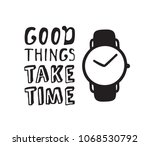 hand drawn watches and text.... | Shutterstock .eps vector #1068530792