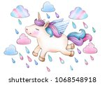 cute   unicorn cartoon and... | Shutterstock . vector #1068548918