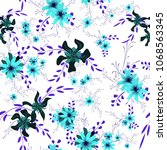 small floral seamless pattern... | Shutterstock .eps vector #1068563345
