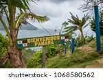 Small photo of Border between Panama and Colombia - Bienvenidos Panama (Welcome Panam) sign -