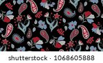 seamless floral pattern in... | Shutterstock .eps vector #1068605888