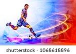 soccer player against the... | Shutterstock .eps vector #1068618896