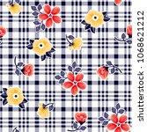flowers pattern beautiful...   Shutterstock .eps vector #1068621212