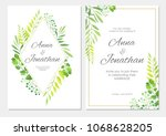 wedding invitation with green... | Shutterstock .eps vector #1068628205