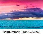 over water fiery backdrop  | Shutterstock . vector #1068629852