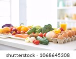 assortment of fresh fruits and... | Shutterstock . vector #1068645308