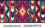 colorful mosaic oriental kilim... | Shutterstock .eps vector #1068649955