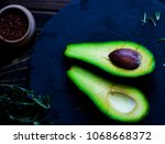 two slices of avocado isolated... | Shutterstock . vector #1068668372