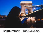 night view of a famous budapest ... | Shutterstock . vector #1068669056