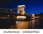 night view of a famous budapest ... | Shutterstock . vector #1068669062