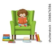 child sits on a chair and reads ... | Shutterstock .eps vector #1068676586