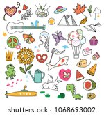 set of cute doodle on white... | Shutterstock .eps vector #1068693002