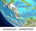 costa rica from orbit of planet ... | Shutterstock . vector #1068695345