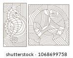 set of outline illustrations of ...   Shutterstock .eps vector #1068699758