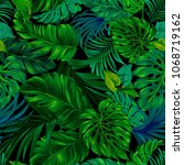 tropical seamless leafy pattern ... | Shutterstock .eps vector #1068719162