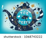 Stock vector tea party colored illustration with teapot and hand drawn lettering phrase alice in wonderland 1068743222