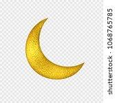 Gold Foil Half Moon. Yellow...