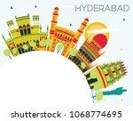 hyderabad city skyline with... | Shutterstock .eps vector #1068774695
