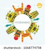 hyderabad city skyline with... | Shutterstock .eps vector #1068774758