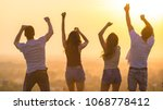 the four people dancing on the... | Shutterstock . vector #1068778412