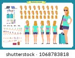 tourist female  vacation... | Shutterstock .eps vector #1068783818
