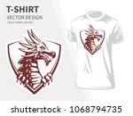 dragon head vector illustration ... | Shutterstock .eps vector #1068794735