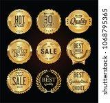 golden labels and badges vector ... | Shutterstock .eps vector #1068795365