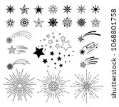 hand drawn cartoon stars.... | Shutterstock . vector #1068801758