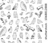 owls vector hand drawn graphic... | Shutterstock .eps vector #1068812888
