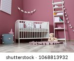 stylish baby room interior with ... | Shutterstock . vector #1068813932