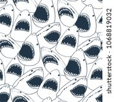 angry shark fish with open...   Shutterstock .eps vector #1068819032