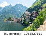 view on famous hallstatt...   Shutterstock . vector #1068827912