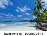 tropical beach. praslin island  ... | Shutterstock . vector #1068830645
