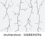 vector wall cracks isolated.... | Shutterstock .eps vector #1068834296