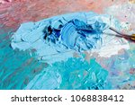 oil blue colors with knife on... | Shutterstock . vector #1068838412