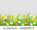 flowers and grass border ...   Shutterstock .eps vector #1068839075