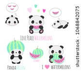 set of cute kawaii vector panda ... | Shutterstock .eps vector #1068842075