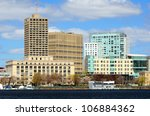 Skyline of Cambridge, Massachusetts from across the Charles River. - stock photo
