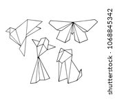 origami animals vector... | Shutterstock .eps vector #1068845342