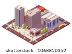 vector low poly isometric city... | Shutterstock .eps vector #1068850352